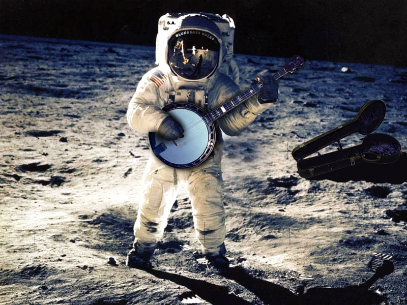 Astronaut on the Moon Playing a Banjo