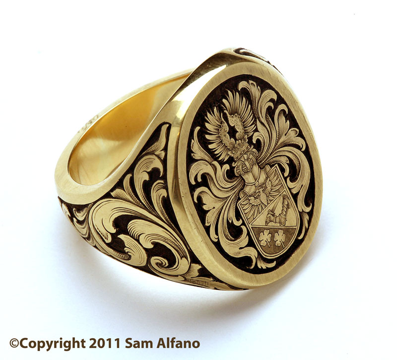 Relief Engraved Signet Ring